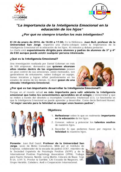 Juan Buil Inteligencia Emocional 24 enero 2014 Liceo Europa